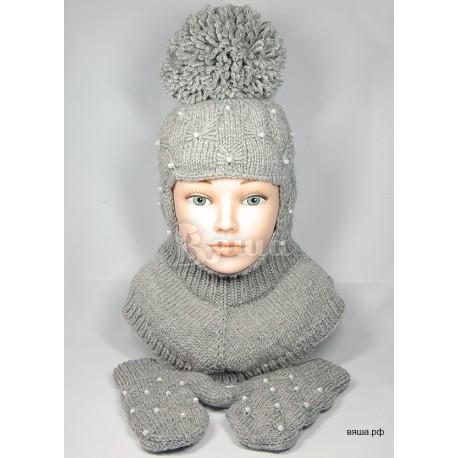 """Комплект """"Пиончик"""" серый: шапка-шлем и варежки, детские, вязаные, зимние, для девочек Вяша"""