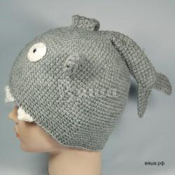 "Шапочка ""Акула"", серая, вязаная, детская, для мальчика, зимняя"