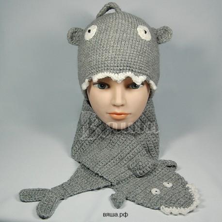 """Комплект """"Акула"""" серый: шапка и шарф, детские, вязаные, осенние, весенние, для мальчиков"""