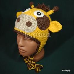 """Шапочка """"Жирафик"""", желтая с коричневыми пятнами, вязаная, для мальчиков и девочек, зимняя"""
