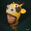"""Шапочка """"Жирафик"""", желтая с коричневыми пятнами, вязаная, для мальчиков и девочек, осенняя, весенняя"""