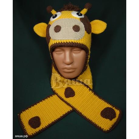 """Комплект """"Жирафик"""" желтый: шапка и шарф, детские, вязаные, осенние, весенние, для мальчиков и девочек"""