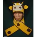 """Комплект """"Жирафик"""" желтый: шапка и шарф, детские, вязаные, зимние, для мальчиков и девочек"""