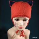 """Шапочка """"Киска рыжая"""", с синими ушками, вязаная, для девочки, зимняя"""