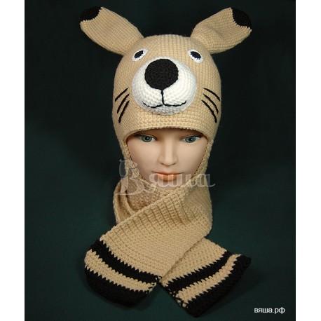 """Комплект """"Зайка"""" медовый: шапка и шарф, детские, вязаные, осенние, весенние, для мальчиков и девочек"""