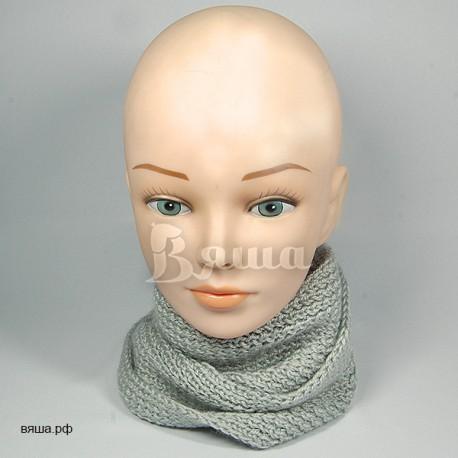 """Шарф детский """"Снуд универсальный"""", серый, вязаный, для мальчиков и девочек"""