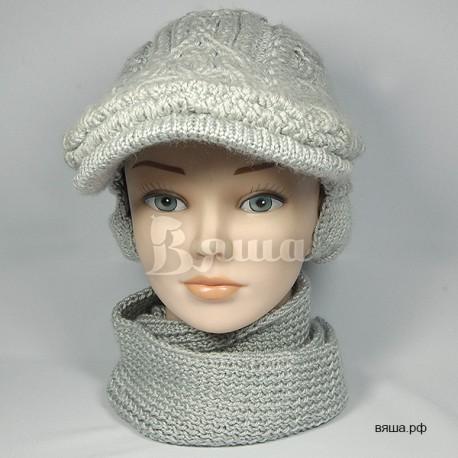 """Комплект """"С аранами"""" серый: кепка и шарф-снуд, детские, вязаные, осенние, весенние, для мальчиков и девочек"""