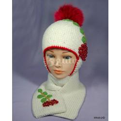 """Комплект """"Рябина"""" белый: шапка и шарф, детские, вязаные, зимние, для девочек"""