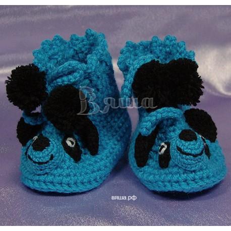 """Пинетки """"Панда"""" синие, вязаные, детские, для мальчиков, осенние, весенние"""