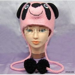 "Шапочка ""Мишка Панда"", бледно-розовая, вязаная, для девочки, осенняя, весенняя"