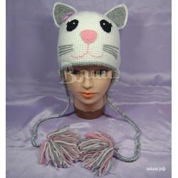 """Шапочка """"Кошечка Лиззи"""", белая, вязаная, детская, для девочек, осенняя, весенняя"""