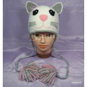 """Шапочка """"Кошечка Лиззи"""", белая, вязаная, детская, для девочек, зимняя"""