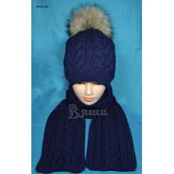 """Комплект """"Красота"""": шапка и шарф женские, вязаные, тёмно-синие, зимние"""