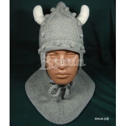 """Комплект """"Викинг"""" серый: шапка и манишка, детские, вязаные, осенние, весенние, для мальчиков"""