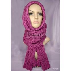"""Комплект """"Фуксия"""": шарф-труба и митенки женские, вязаные, цвета фуксии"""