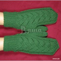 """Варежки """"Изумрудные"""" женские, зелёные, зимние, вязаные"""