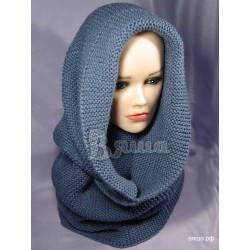 """Шарф-снуд женский """"Морской туман"""", серо-синий, вязаный, зимний"""