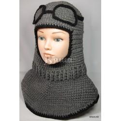 """Шапка-шлем """"Лётчик"""", серый меланж, с черной окантовкой и очками, вязаный, для мальчика, зимний"""