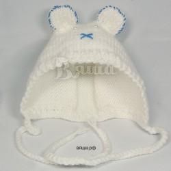 """Чепчик """"Мишутка"""" белый с синим, вязаный, для девочек и мальчиков, осенний, весенний"""