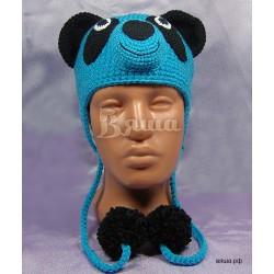 """Шапочка """"Мишка Панда"""", голубая, детская, вязаная, для мальчика, зимняя"""