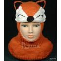 """Шапка-шлем """"Лисичка"""", рыжая, вязаная, для девочки, зимняя"""