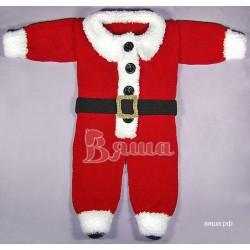 """Комбинезон """"Санта / Дед Мороз"""", красный, детский, вязаный, для мальчиков, зимний"""