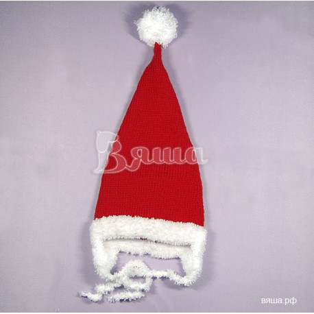 """Колпак """"Санта / Дед Мороз"""" красный с белым, вязаный, для девочек и мальчиков, зимний"""