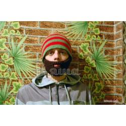 """Шапка-борода """"Полосатая"""", борода коричневая, вязаная, мужская, зимняя"""