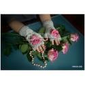 """Митенки """"Серые с розовой розочкой"""" вязаные, для девочек, осенние, весенние"""