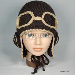 """Шапочка """"Лётчик с наушниками"""", коричневая с бежевой окантовкой, вязаная, для мальчиков и девочек, зимняя"""
