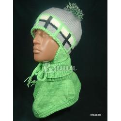 """Комплект """"Спортивная клетка"""" салатовый: шапка и манишка, детский, вязаный, зимний, для мальчиков"""