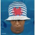 """Панамка """"Крабик"""" полосатая (белая с синим), вязаная, для мальчиков, летняя"""