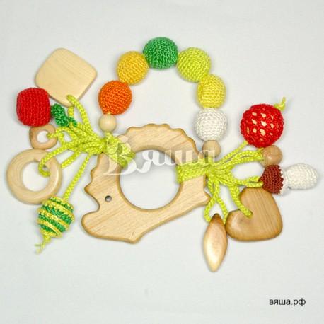 Грызунок-прорезыватель деревянный Ёжик с подвесками, детский, для мальчиков и девочек