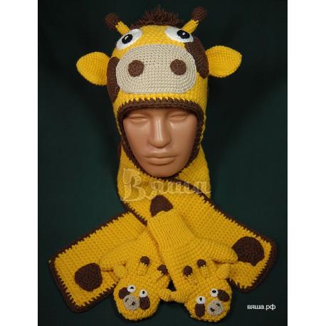 """Комплект """"Жирафик"""" желтый: шапка, шарф, варежки детские, вязаные, зимние, для мальчиков и девочек"""