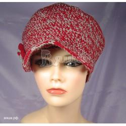 "Шапка Кепи ""Меланж"", двухцветная (красный/серый), вязаная, женская, осенняя, весенняя"