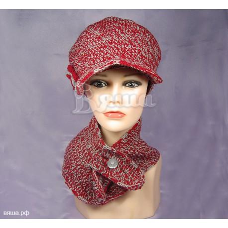 """Комплект """"Меланж"""" двухцветный (серый, красный): шапка и манишка, женский, вязаный, осенний, весенний"""