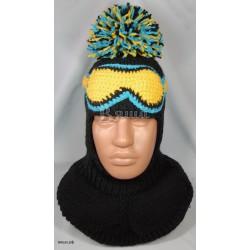 """Шапка-шлем """"Горнолыжник"""", чёрный, вязаный, с помпоном, для мальчика, зимний"""