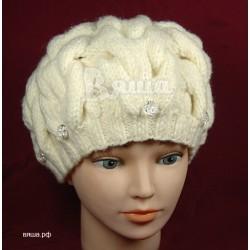 """Берет """"Объёмные косы"""",молочный, с бусинами, вязаный, детский, для девочки, зимний"""