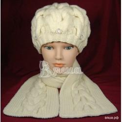 """Комплект """"Объёмные косы"""" молочный: берет и шарф, детские, вязаные, зимние, для девочек"""