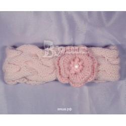 """Повязка детская """"Нежное переплетение"""", бледно-розовая, вязаная, осенняя, весенняя"""