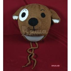 """Шапочка """"Бублик"""", коричневая, вязаная, для мальчиков, осенняя, весенняя, летняя"""