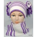 """Комплект """"Фиола"""": шапка и шарф детские вязаные, зимние, для девочки"""