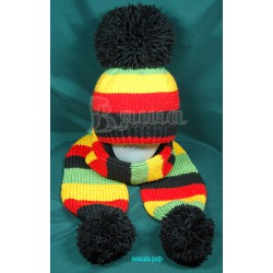 """Комплект """"Полосатый Джо"""" четырёхцветный: шапка и шарф, детский, вязаный, для мальчиков, зимний"""