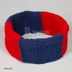 """Шарф детский, снуд """"Многогранный"""", синий / красный, вязаный, для мальчиков и девочек"""
