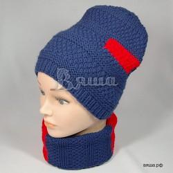 """Комплект """"Многогранный"""" синий с красным: шапка и шарф-снуд, детский, вязаный, для мальчиков и девочек, осенний, весенний"""