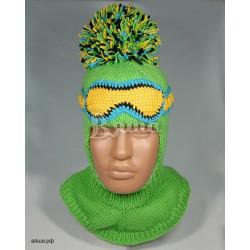 """Шапка-шлем """"Горнолыжник"""", салатовый, вязаный, с помпоном, для мальчика, зимний"""