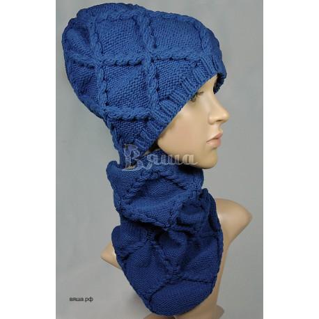 """Комплект """"Восхитительный ромбы"""" синий: шапка и шарф, женский, вязаный, осенний, весенний"""