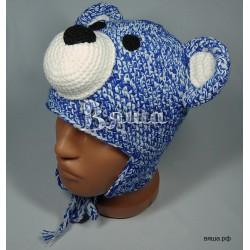 """Шапочка """"Мишка Тедди"""", синий с белым, вязаная, для мальчика и девочки, зимняя"""