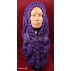"""Шарф-снуд женский """"Бесконечность"""", фиолетовый, вязаный, зимний"""