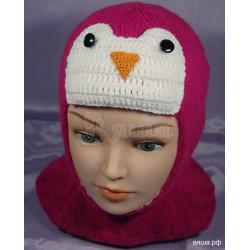 """Шапка-шлем """"Пингвинёнок Пепе"""", розовая, вязаная, для девочки, зимняя"""